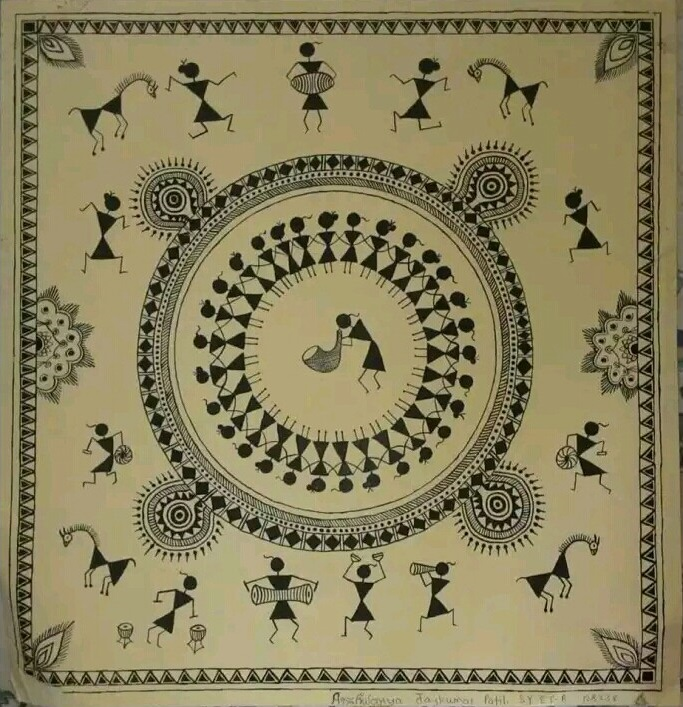 Warli painting calligraphy and origami by aishwarya patil for warli painting by aishwarya patil thecheapjerseys Image collections