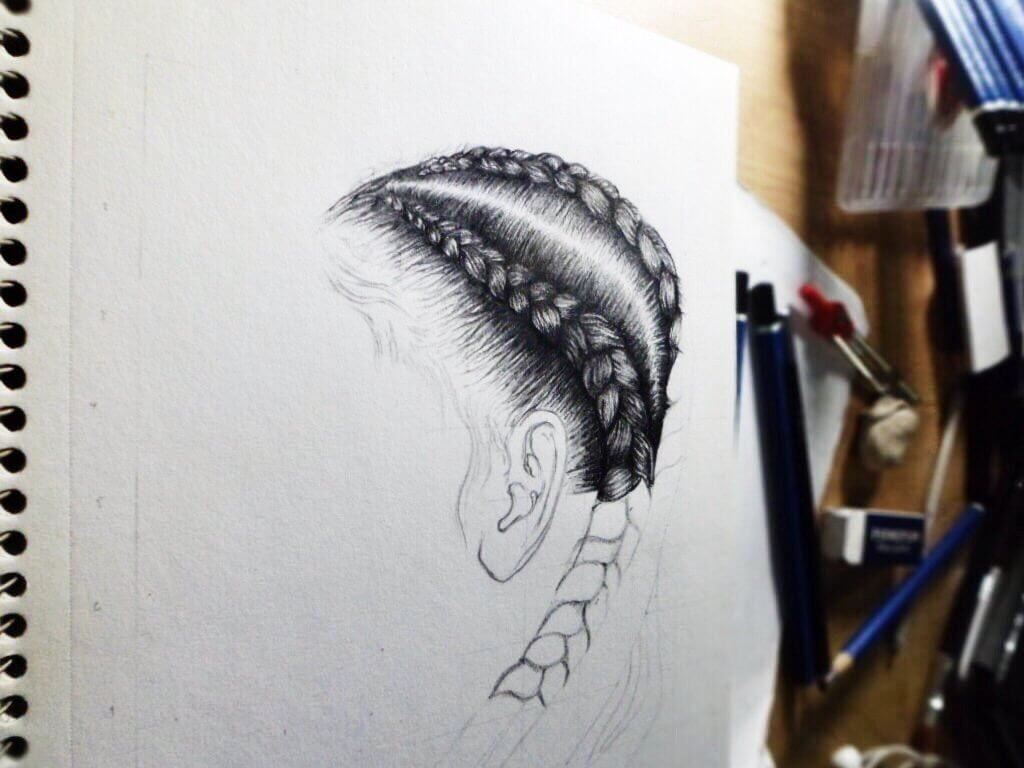 Hair Sketches and Pencil Art