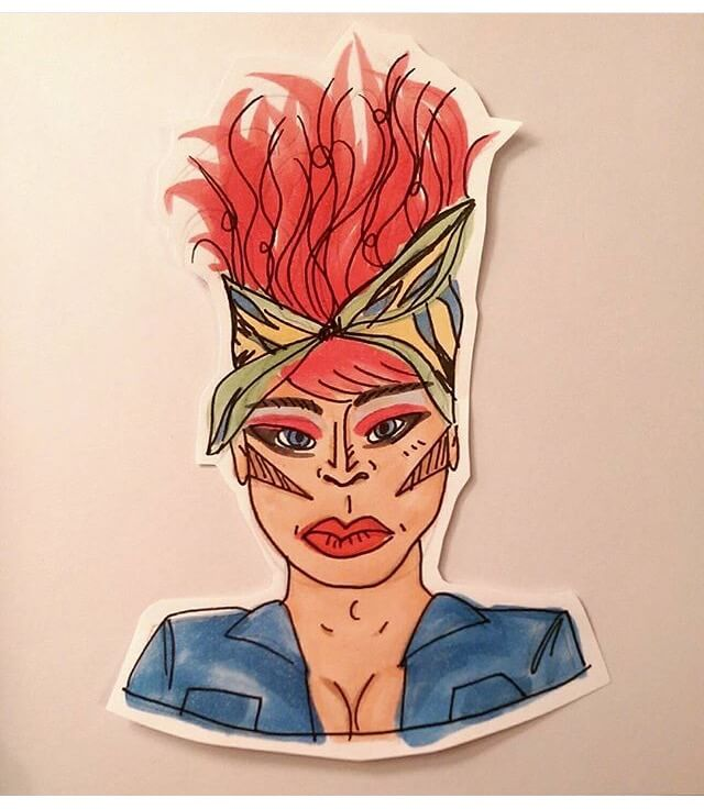 Karmen Wessel Drag Queen Drawing